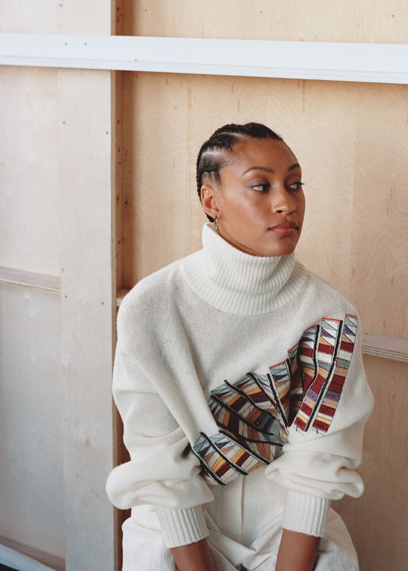 & Other Stories Embroidered Wool Turtleneck Sweater