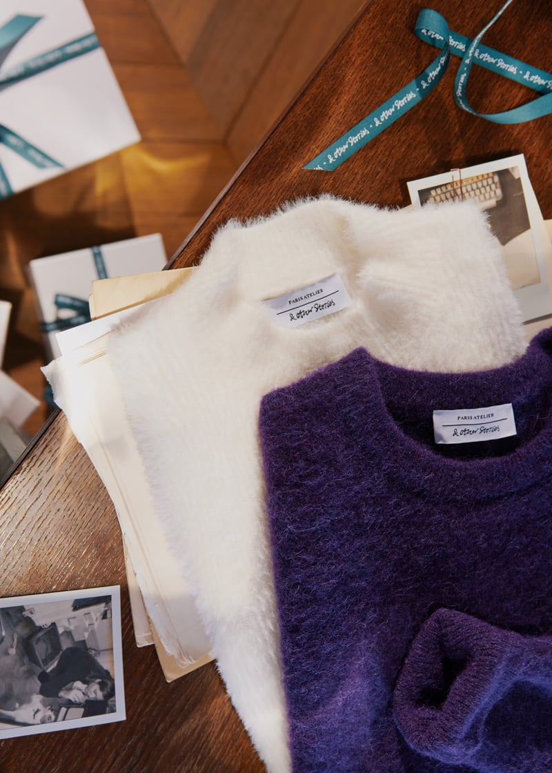 & Other Stories Fluffy Mock Neck Wool Blend Sweater