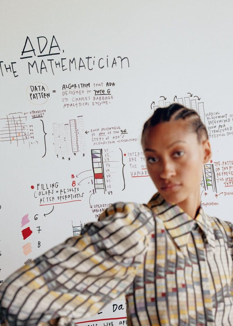 & Other Stories Geometric Print Puff Sleeve Mini Dress