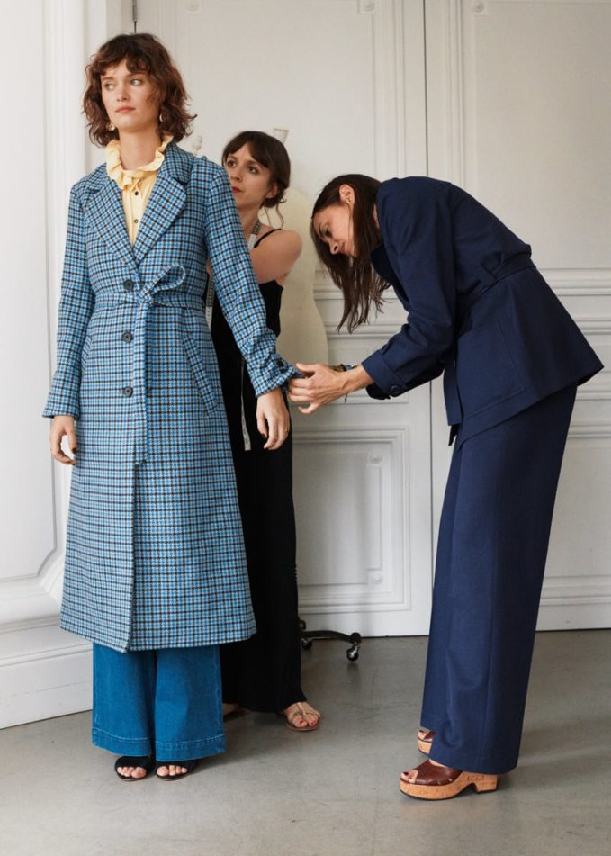 & Other Stories Houndstooth A-Line Belted Coat
