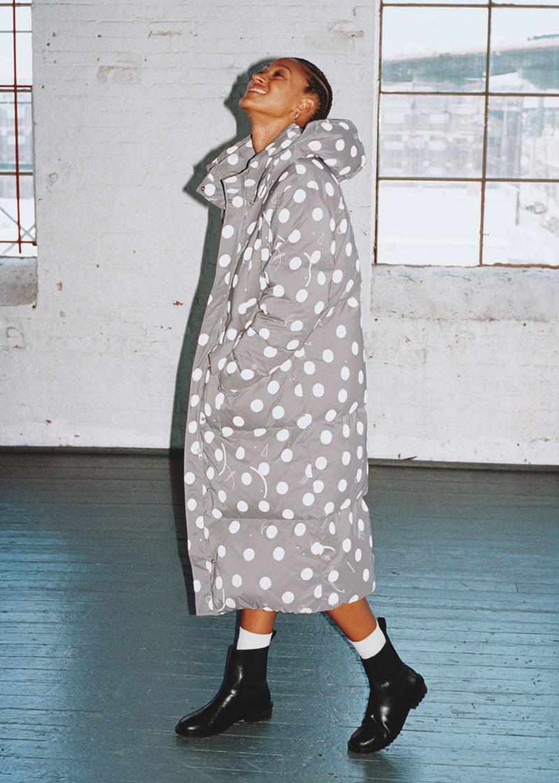 & Other Stories Oversized Polka Dot Puffer Coat