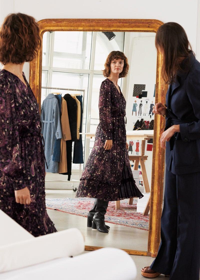 & Other Stories Paisley Satin Midi Puff Sleeve Dress