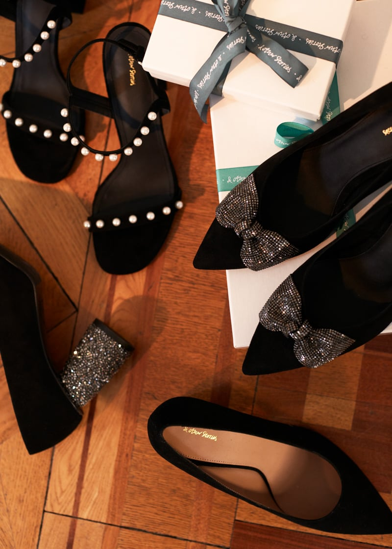 & Other Stories Pearl Studded Suede Heeled Sandals