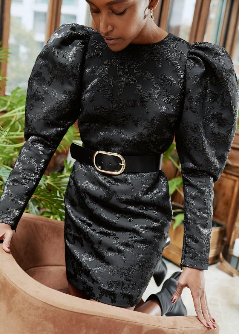 & Other Stories Puff Sleeve Mini Jacquard Dress