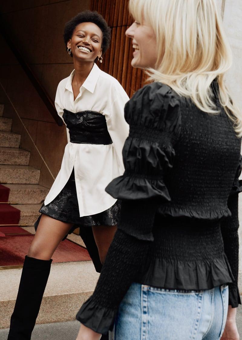 & Other Stories Ruffle Hem Mini Jacquard Skirt