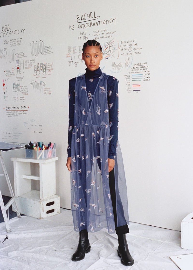 & Other Stories Sheer Embroidered Tulle Midi Dress