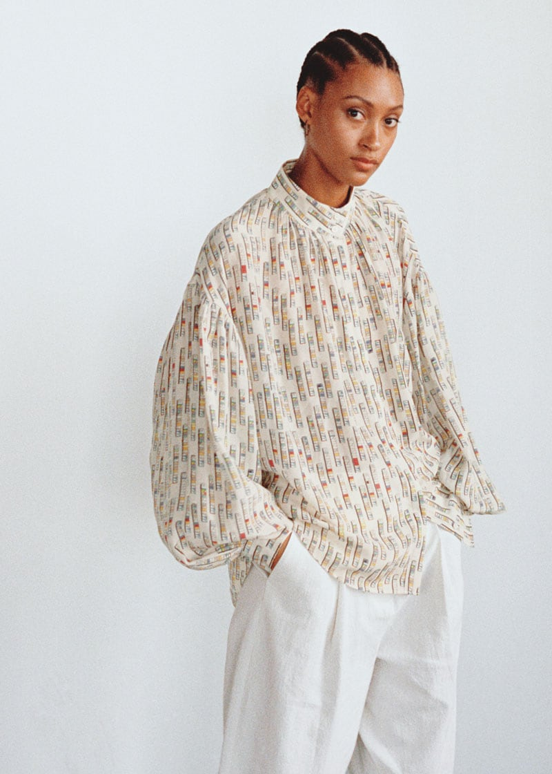 & Other Stories Silk Puff Sleeve Printed Blouse