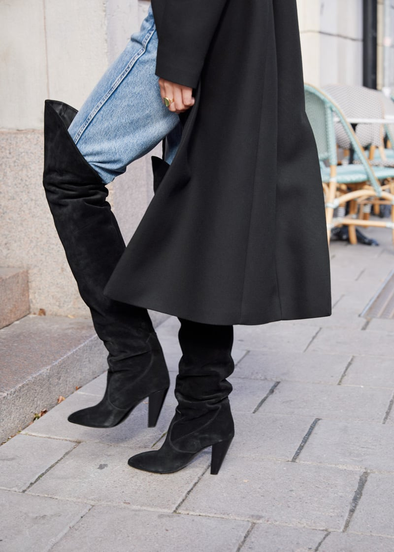 & Other Stories Suede Thigh High Cowboy Boots