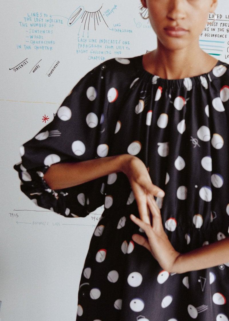 & Other Stories Voluminous Dotted Satin Mini Dress
