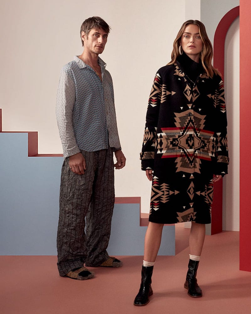 Pendleton Geometric-Intarsia Wool-Blend Coat