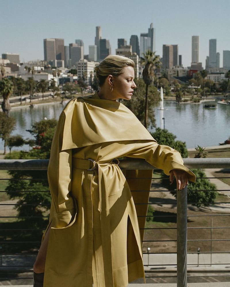 Proenza Schouler Belted Draped Leather Midi Dress