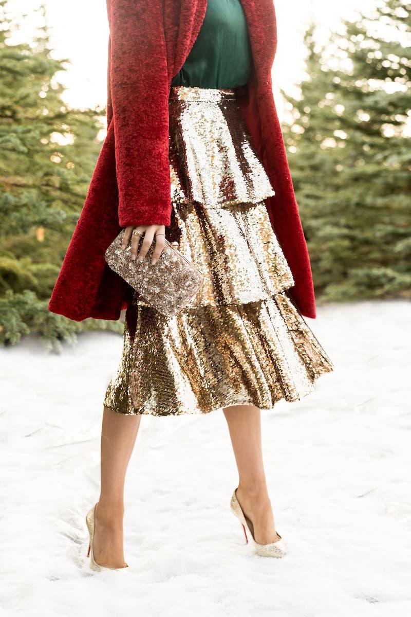 Rachel Parcell Tiered Sequin Skirt