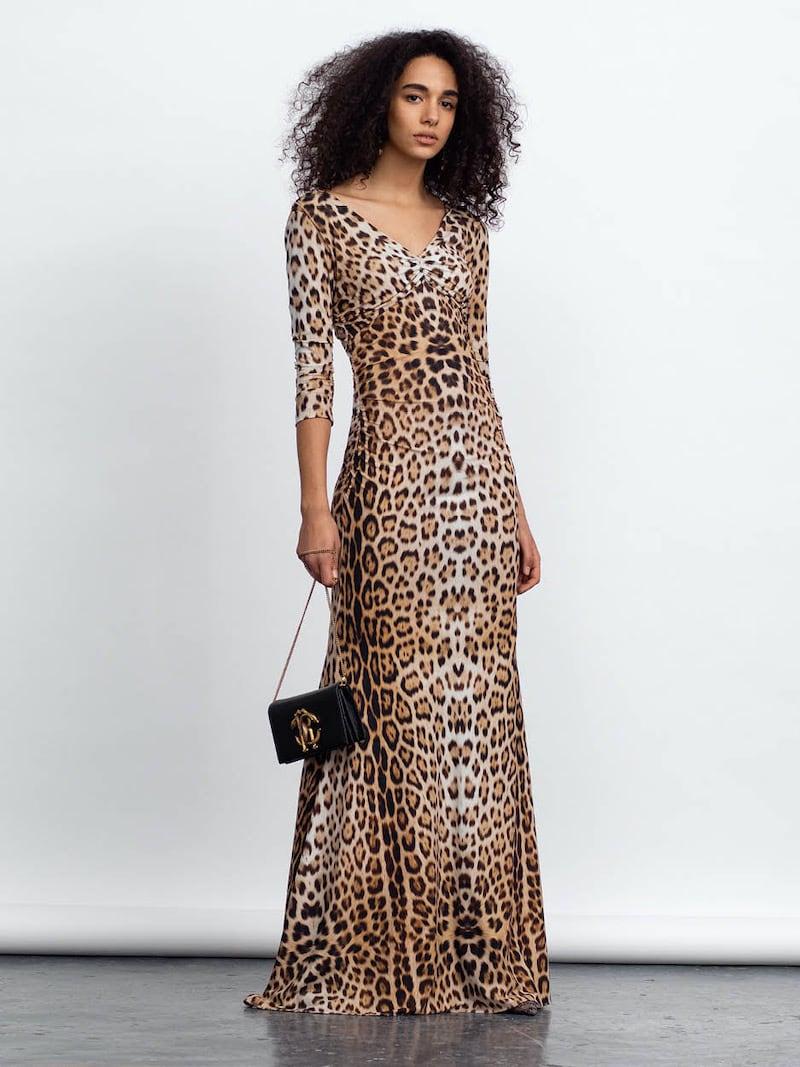 Roberto Cavalli Leopard-Print Jersey Maxi Dress