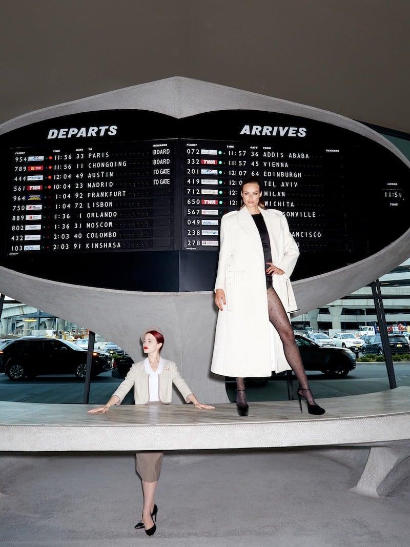 Saint Laurent Chevron Wool Exaggerated-Shoulder Long Overcoat