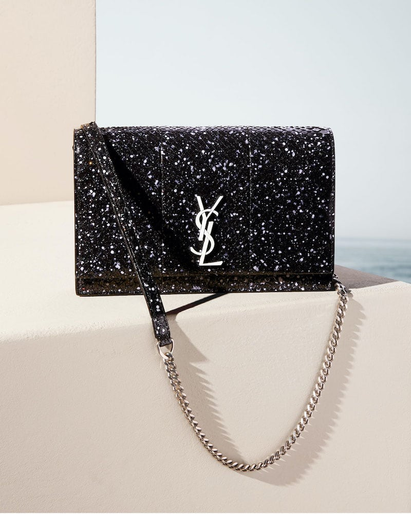 Saint Laurent Kate YSL Stardust Glow In The Dark Python Wallet on Chain