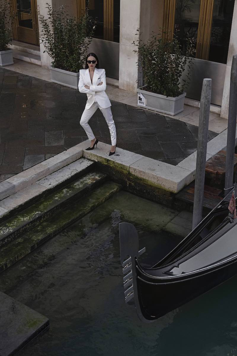 Saint Laurent Satin High-Rise Tuxedo Pants