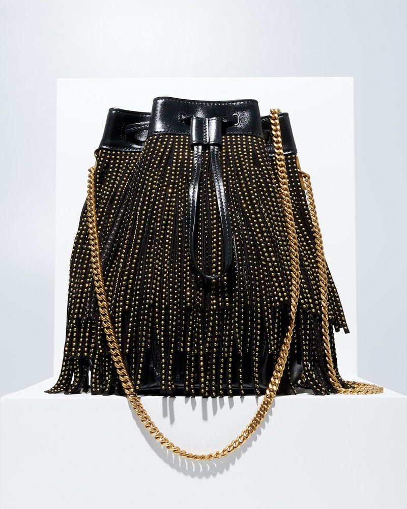 Saint Laurent Talitha Small YSL Monogram North/South Fringe Bucket Bag