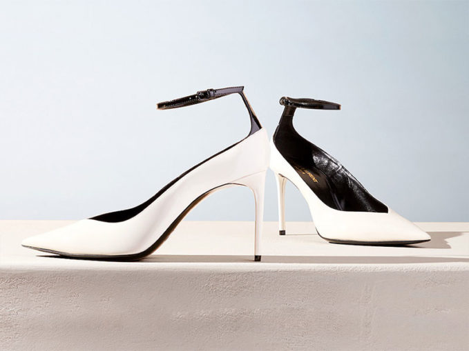 Saint Laurent Zoe Shiny Ankle-Strap Pumps