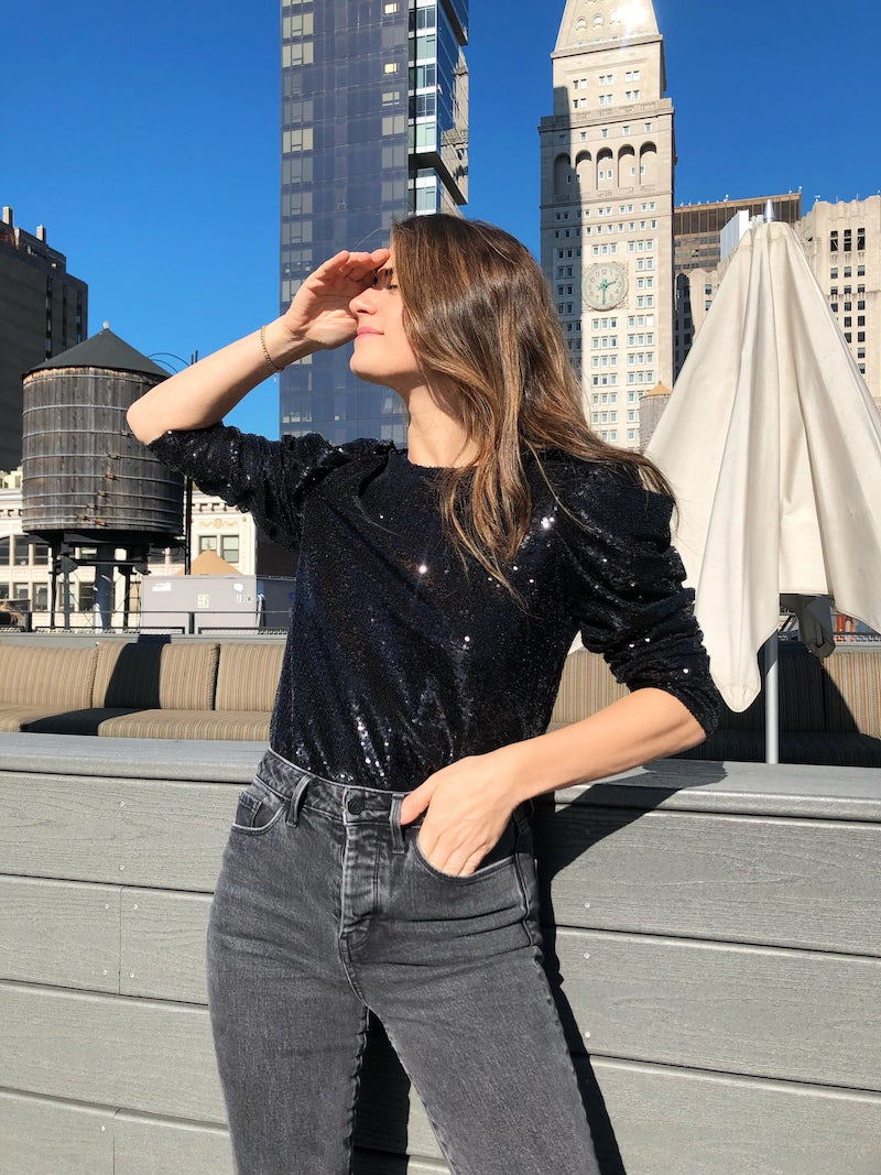 Something Navy Sequin Night Out Top