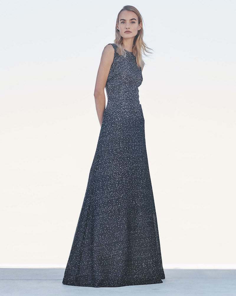 St. John Collection Sleeveless Bejeweled Silver Netting Gown with Sequins