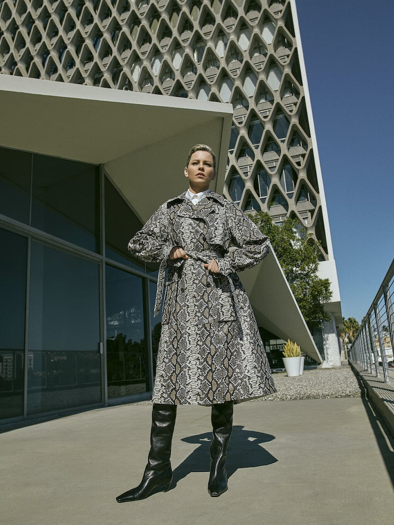 UTZON Snake-effect Leather Trench Coat