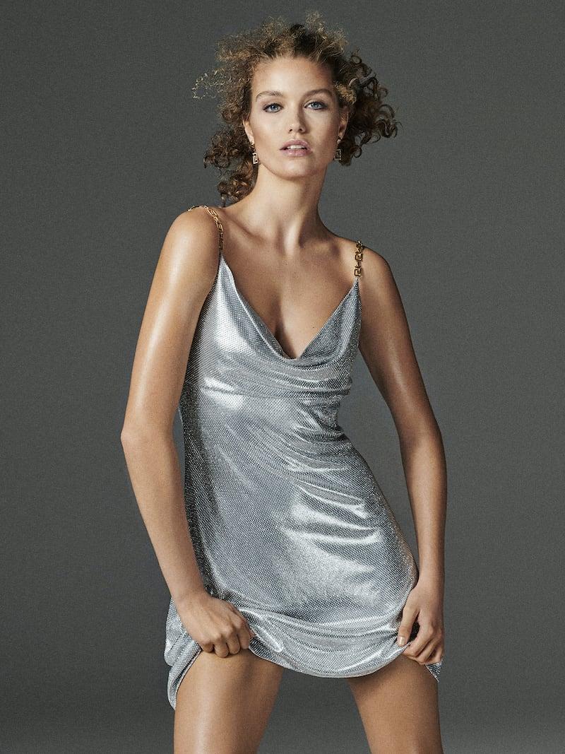 Versace Embellished Satin Mini Dress