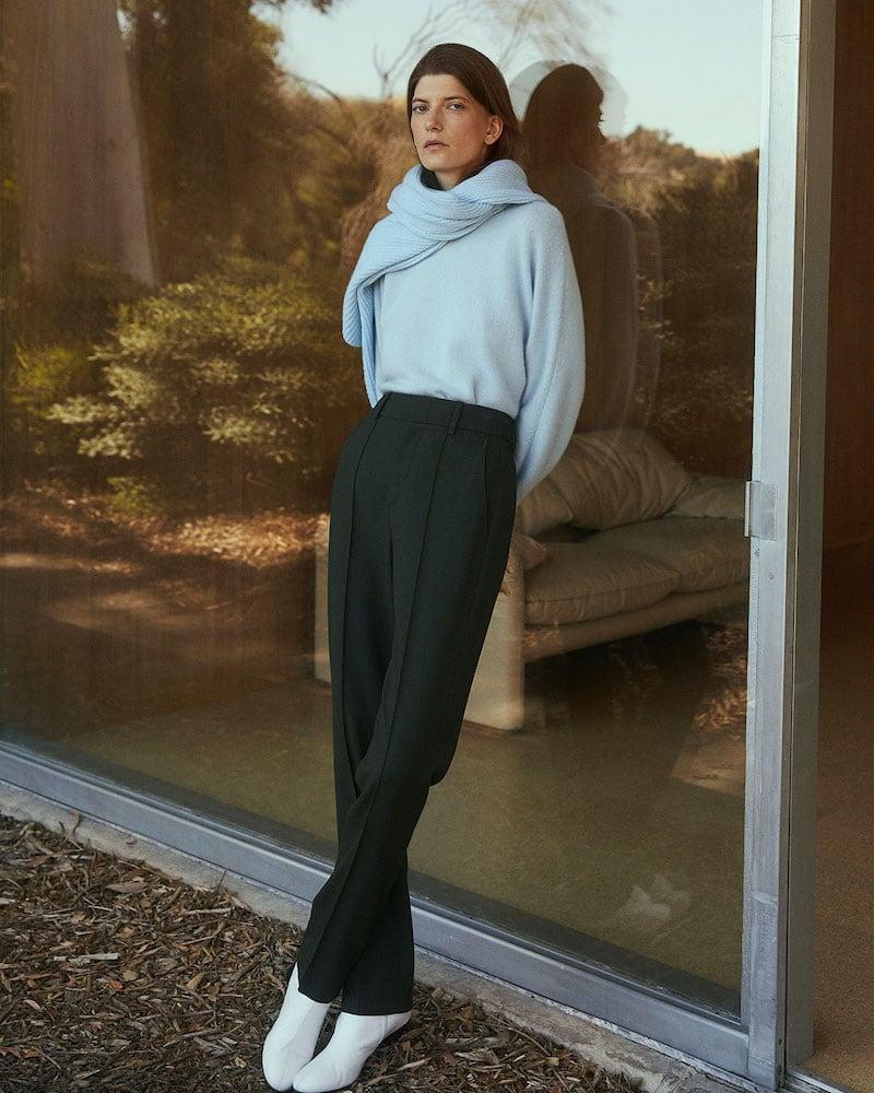 Vince High-Waist Tailored Pintuck Trousers