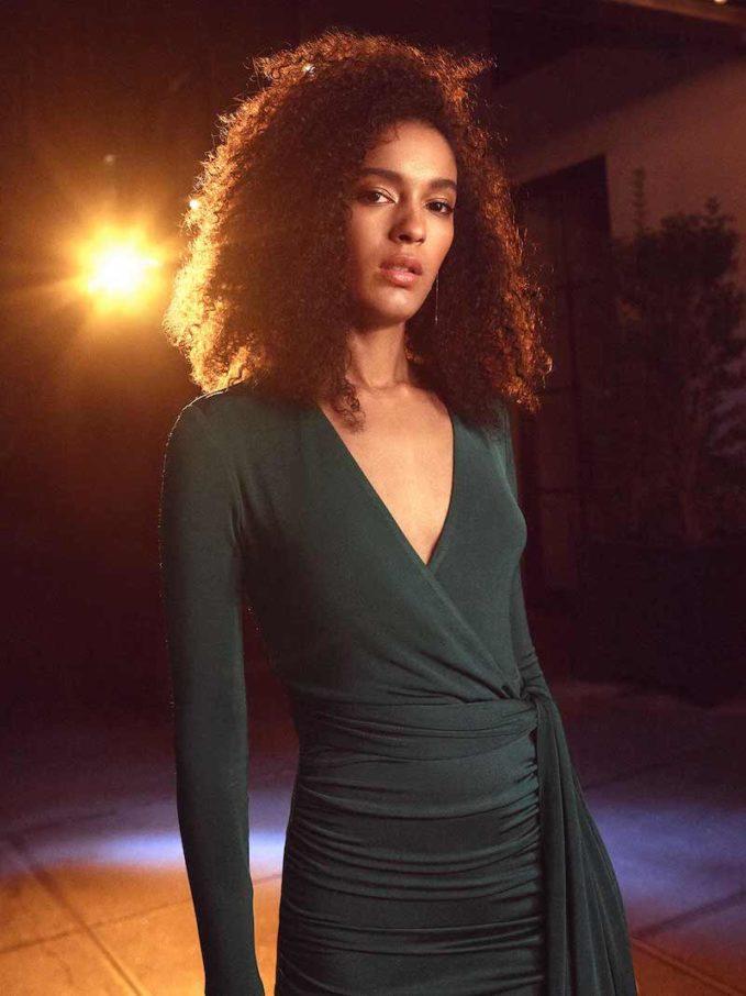 alice + olivia Kyra Deep V Drapey Maxi Dress