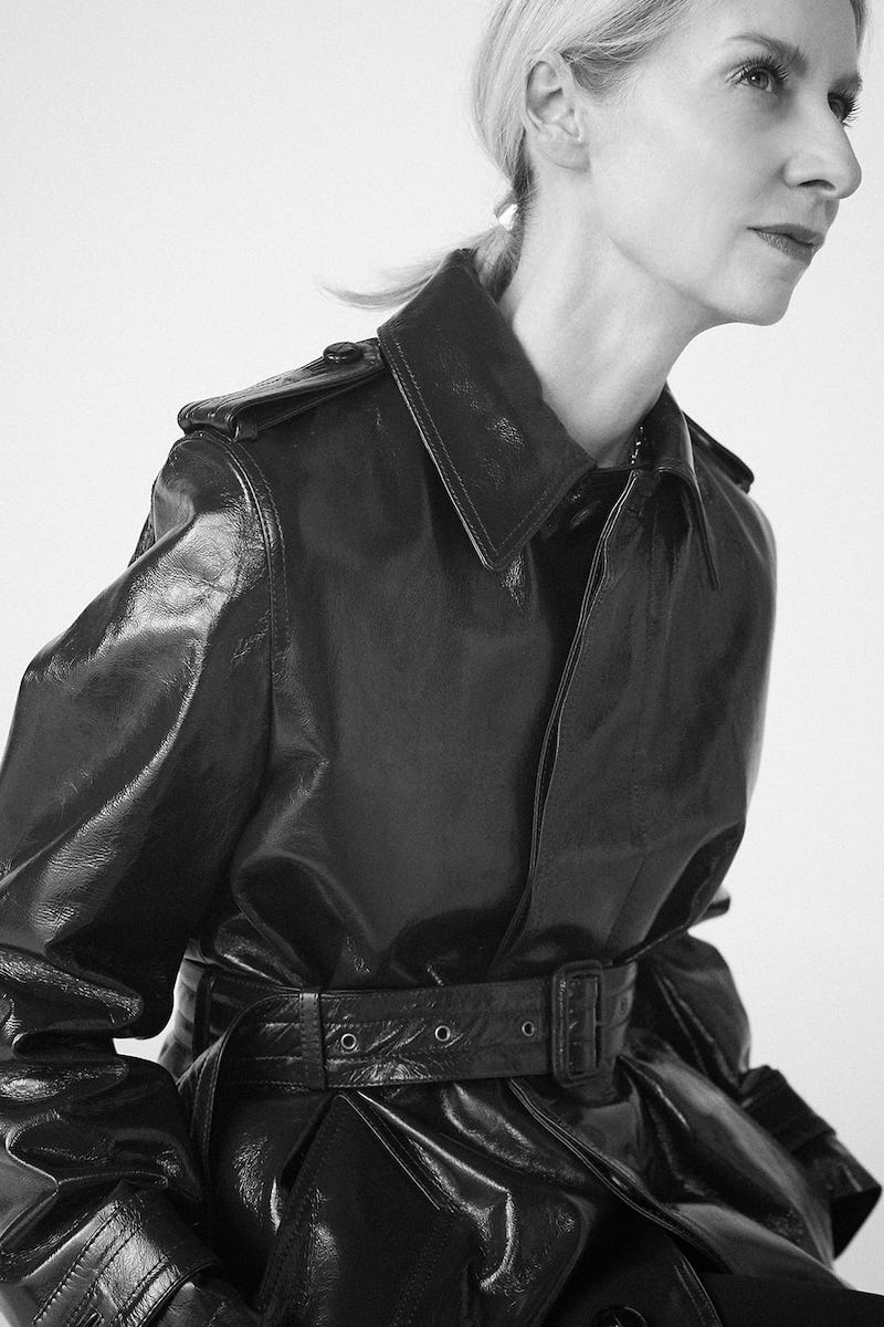 AMI Single-Breasted Crinkled-Leather Trench Coat
