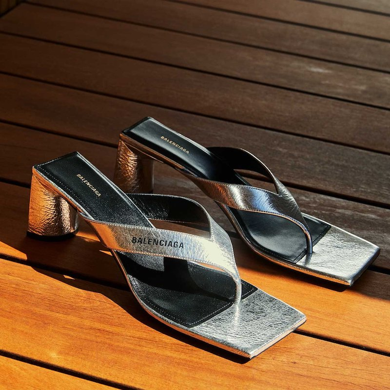 Balenciaga Crinkled Metallic Slide Sandals
