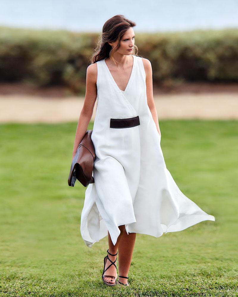 Brunello Cucinelli Leather-Belted Linen Twill V-Neck Dress