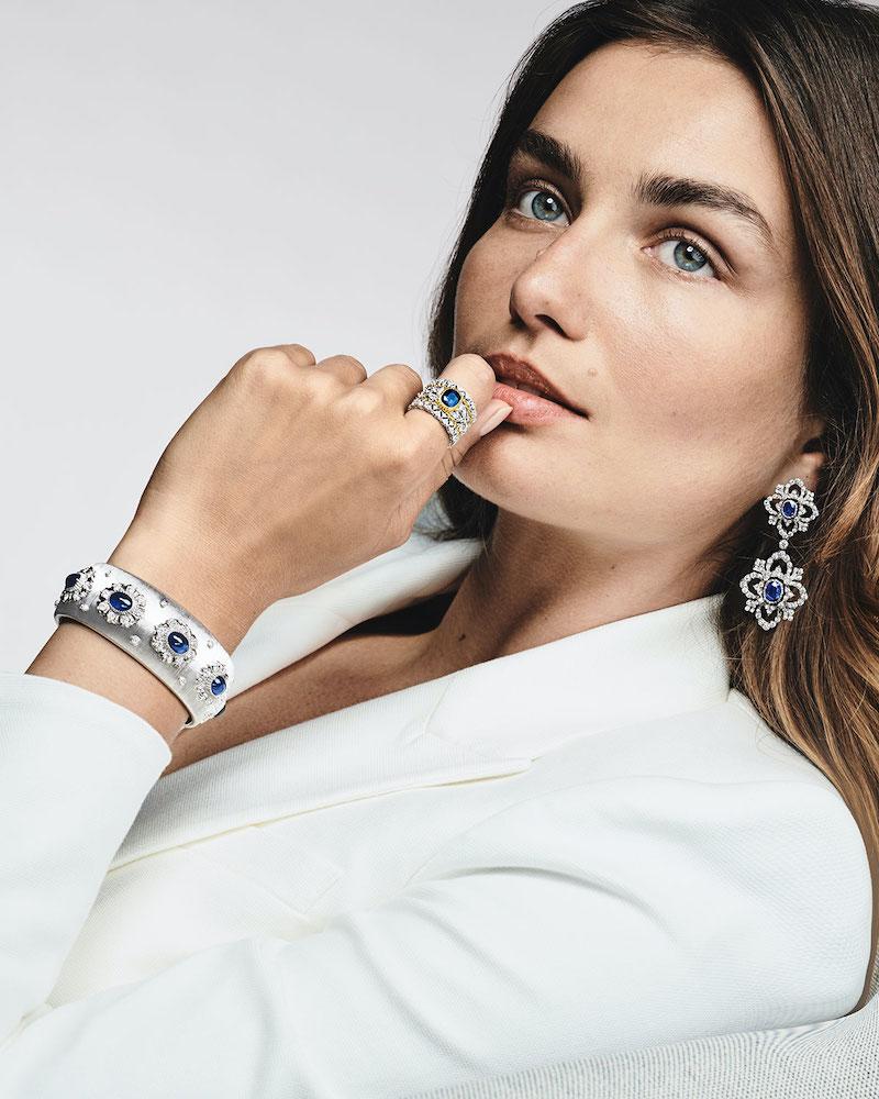 Buccellati 18k White Gold 5-Sapphire Oval Bracelet W: Diamonds