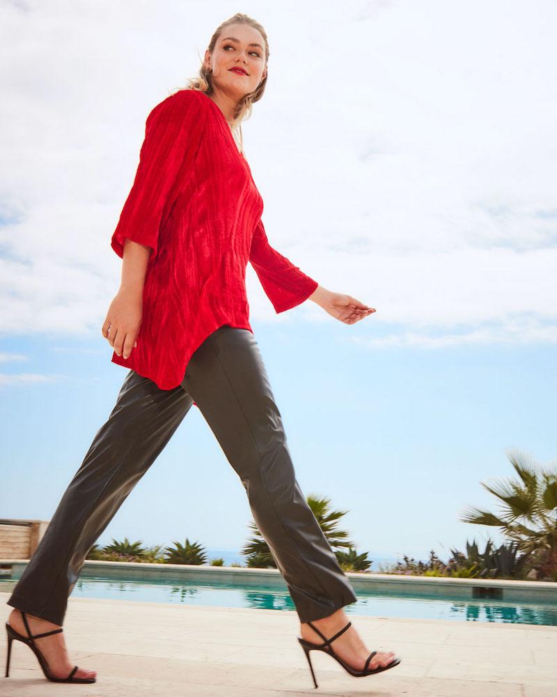 Caroline Rose Plus Size Crinkle Velvet 3/4-Sleeve Shirt