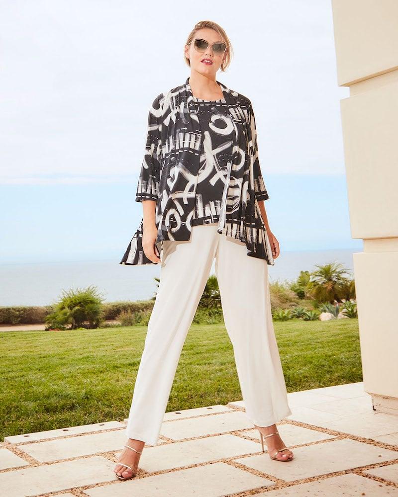 Caroline Rose Plus Size Escapade Knit Side Fall Cardigan