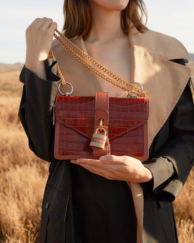 Chloé Aby Croc-Effect Leather Shoulder Bag