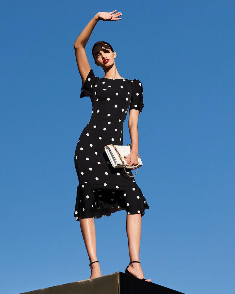 Dolce & Gabbana Polka-Dotted Silk Flutter-Sleeve Dress