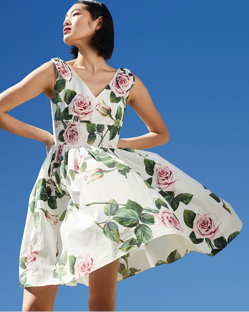 Dolce & Gabbana Short-Sleeve Floral Dress