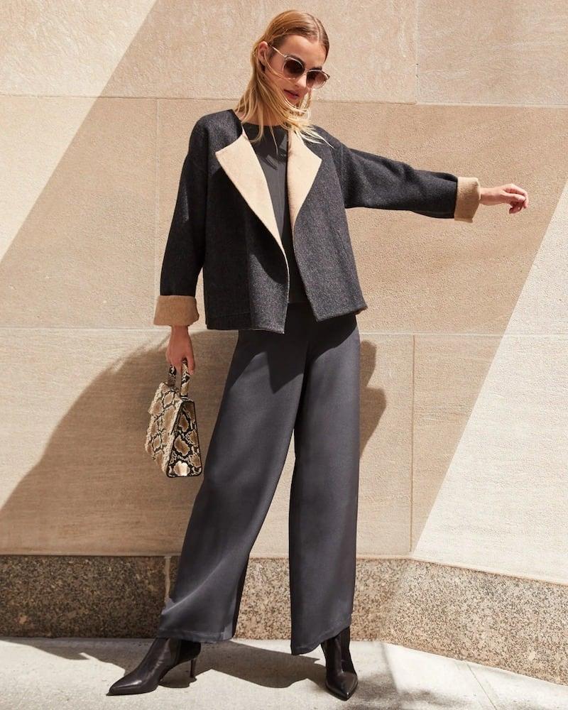 Eileen Fisher Silk Double Crepe Wide-Leg Pants