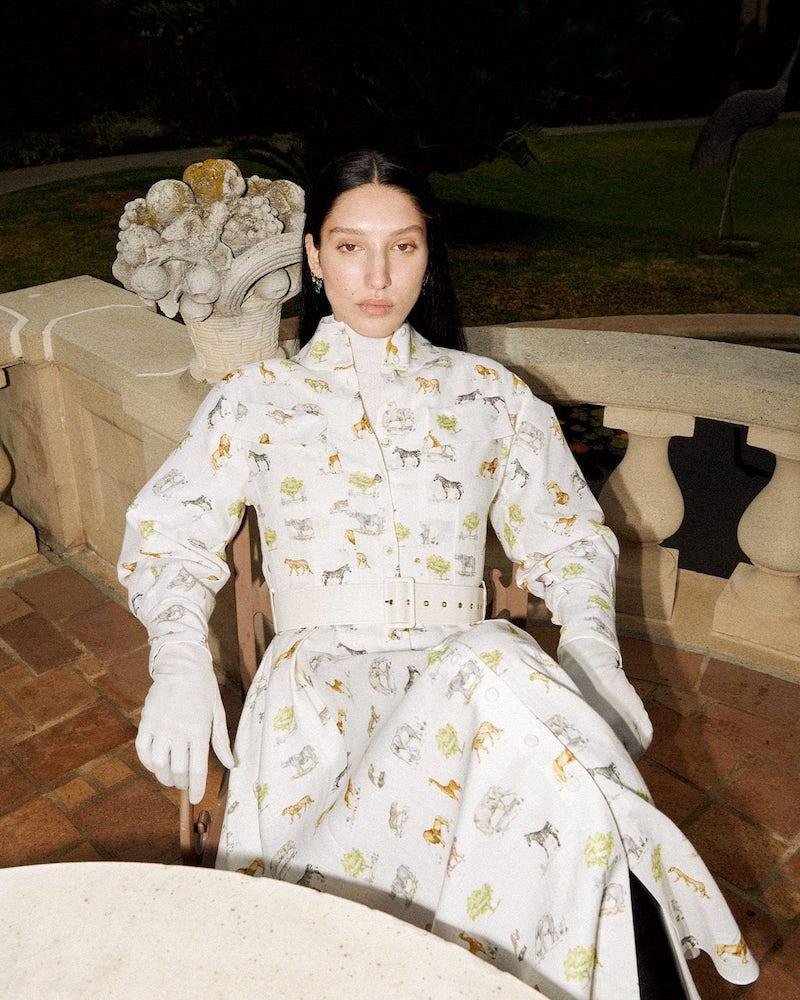 Emilia Wickstead Appolina Safari-Print Belted Linen Shirtdress