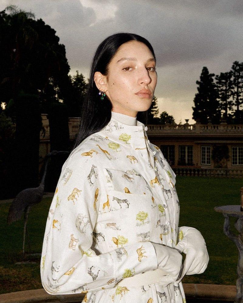 Emilia Wickstead Appolina Safari-Print Belted Linen Shirtdress 1