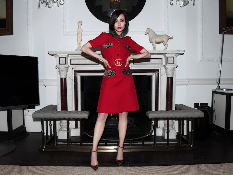 Gucci Belted Crepe Cady Dress with Leo Details