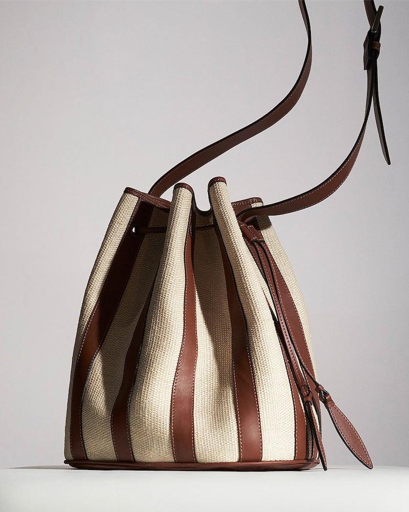 Hunting Season XL Drawstring Leather and Raffia Bucket Bag