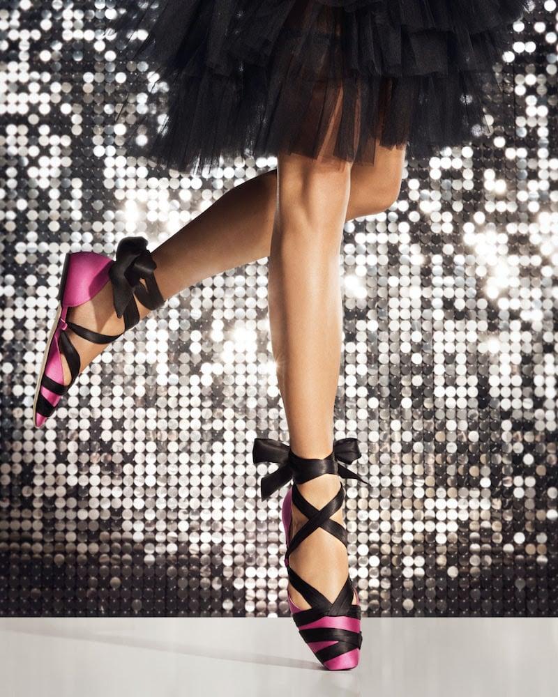 JIMMY CHOO Louren Flat Bubblegum-Pink Satin Ballet Flats With Black Ribbon