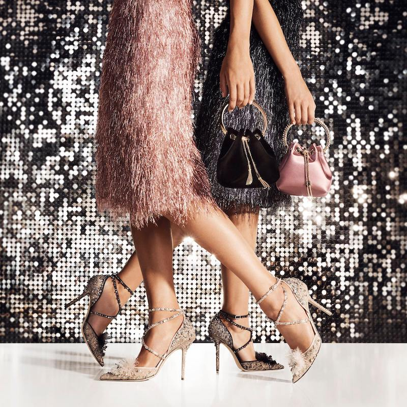 JIMMY CHOO Odette 100 Lace Wraparound Heels With Feather and Crystal Embellishment