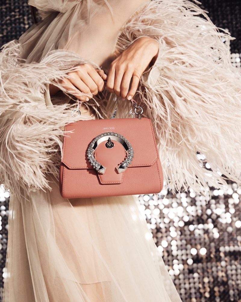 JIMMY CHOO Small Madeline Top Handle Blush Leather Top Handle Bag With Crrystal Buckle