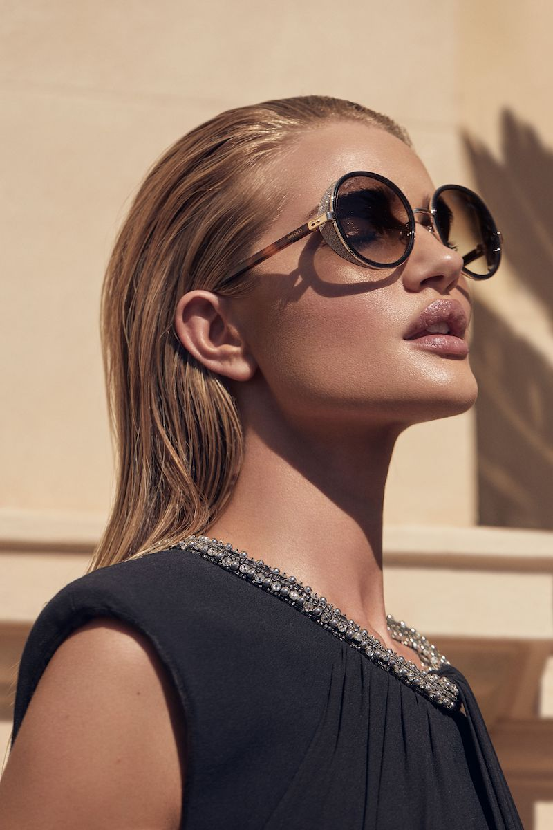 Jimmy Choo Andie Havana Brown Acetate Round Framed Sunglasses with Gold Silver Crystal Fabric Detailing