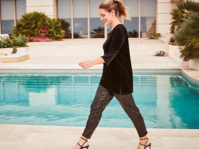 Joan Vass Plus Size Sequin Ankle Pants