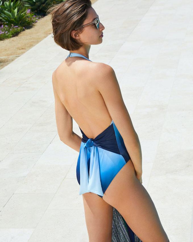 Jonathan Simkhai Ombre Deep v Tie-Waist One-Piece Swimsuit
