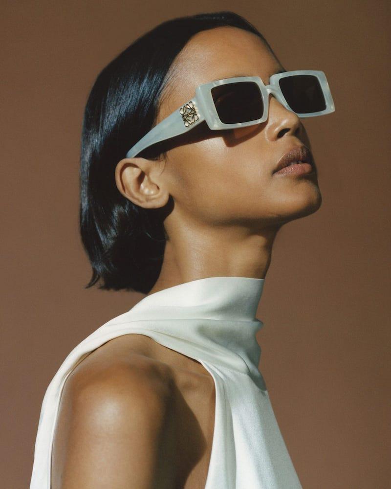 Loewe Rectangular Thick Acetate Sunglasses