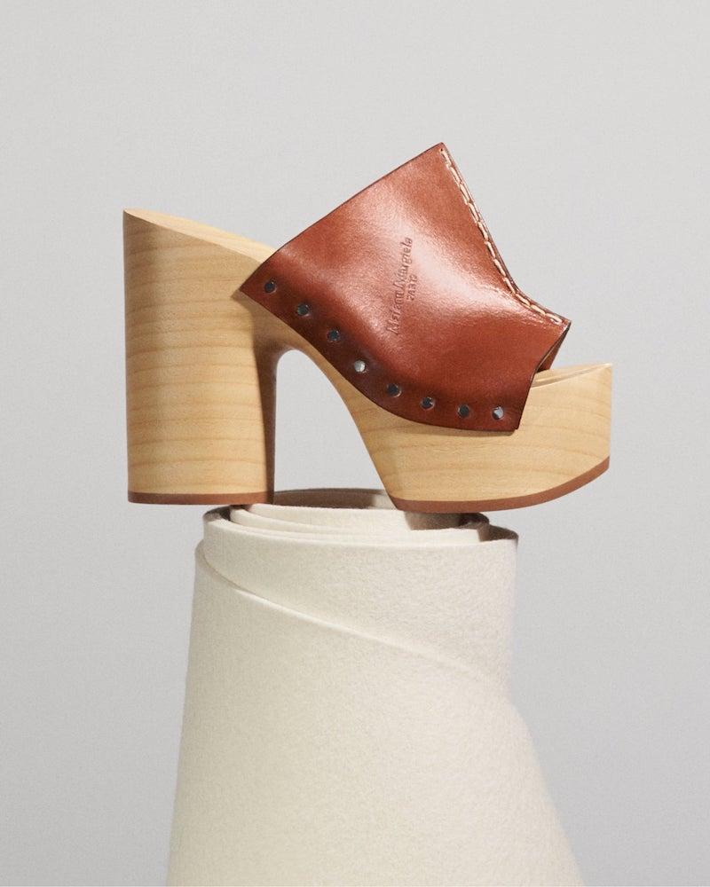 Maison Margiela Platform Clog-Heel Leather Mules
